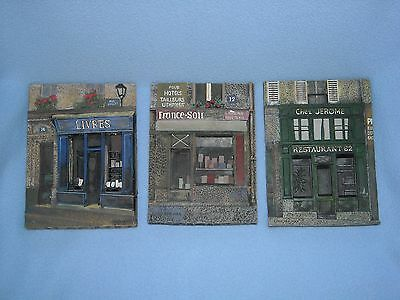 3D SET of 3 FRENCH RESTAURANT LIBRAIRIE LIVRES by CHIU TAK HAK WALL ART PLAQUES
