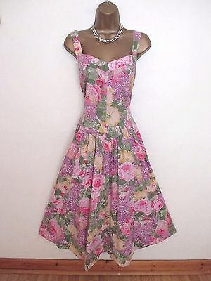 vintage m&s dress floral cotton mix summer size 18 long excellent