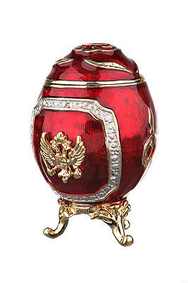 Faberge Egg Trinket Box Russian Coat of Arms & Emperor's Crown 2.6'' 6.5cm red