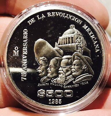 1985 Mexico 500 Pesos Silver 75th Anniversary Of Revolution Proof. FREE SHIPPING