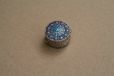 925 stamped silver and enamel pill box