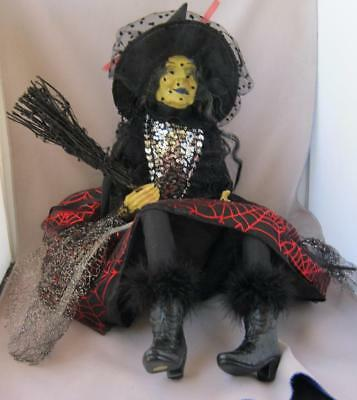 Extravagant Large Halloween Glamour Witch with Attitude Red Silver and Black