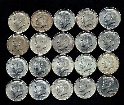 One Roll 1964 Kennedy Half Dollars 90% Silver (20 Coins)   Lot S11