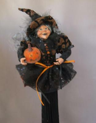 Exquisite Halloween Doll Tall Black and Orange Glamour Witch on Stand