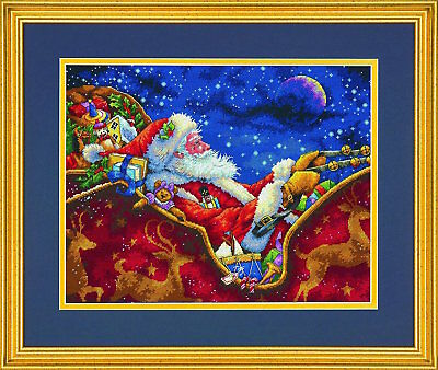 Dimensions Gold Collection 8934 Santa's Midnight Ride Counted Cross Stitch Kit