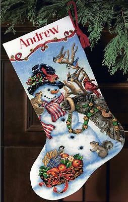 Dimensions 8866 Snowman Gathering Stocking Counted Cross Stitch Kit