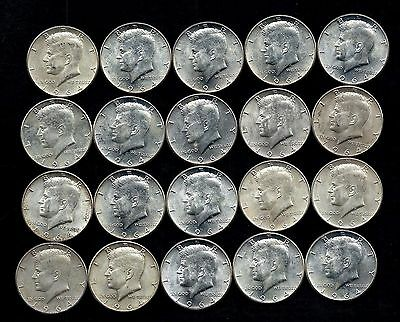 One Roll 1964 Kennedy Half Dollars 90% Silver (20 Coins)   Lot S13