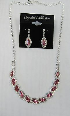 Silver Plated Pink Rhinestone Crystal Necklace Set Wedding Bridal # 168182 New