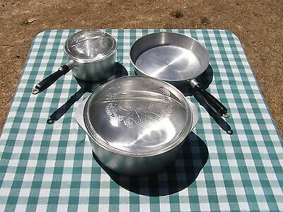NOS Vintage 5 Piece Hammered Club Aluminum Cookware Set