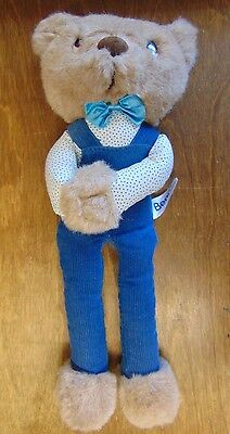 1980's Russ Berrie,Item #808, Benny Bear in Blue Cordouroy Coveralls,Velcro Paws