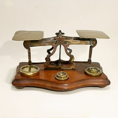 Vintage Copper & Wood Postal Scale with 5 Brass Weights