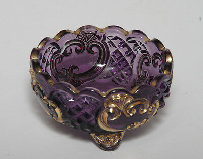 Antique Amethyst EAPG Croesus Footed Bowl with Gold Details