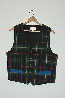 Vintage 1970s Plaid Vest with Solid Blue Back By London Fog fully lined