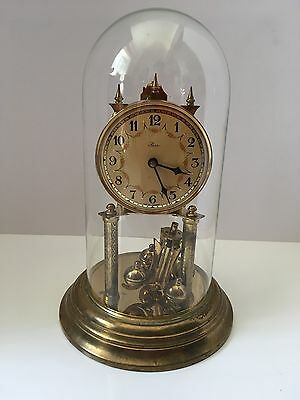 Vintage Original Herr Anniversary Table Clock With Glass Dome Non Working