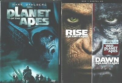 PLANET OF THE APES 1- 2- 3: Tim Burton's+ Rise+ Dawn- The Remakes- NEW DVD's