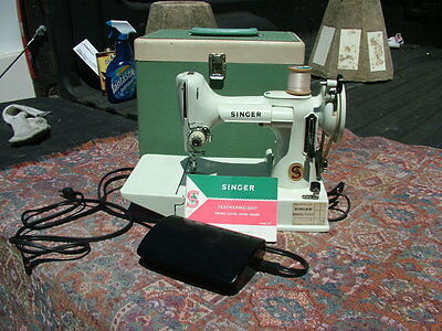 """1964 Red """"s""""  Singer 221K White Featherweight Sewing Machine With Case"""