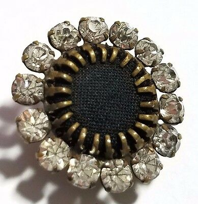 Victorian Art Deco Hat Pin Mourning Cloth Center w/ Faceted  Pronged Paste Stone