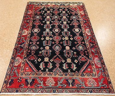 5 x 7 Persian NAHAVAND Hand Knotted Wool NAVY RED Traditional Oriental Area Rug