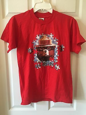 Red Youth Smokey Bear Short Sleeve Tee Shirt Size 14/16 100% Cotton
