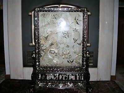 Antique Signed Chinese Qing Dyansty Silk Embroidery Pearl Table Screen 31X23X9