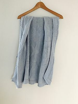 Blue Chunky Knit 100% Cotton Baby Cot Blanket Or Floor Mat