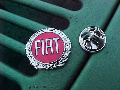 Fiat Chrome Red Logo Hat Pin In Silver Trim Shines Mint A1 Quality!!