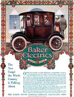 Color Baker Electric Car J C LEYENDECKER HANDSOME MAN Gillette Christmas 1912 Ad