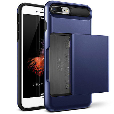 For iPhone 7 Plus Case Wallet ID Credit Card Holder Shockproof Cover Dark Blue