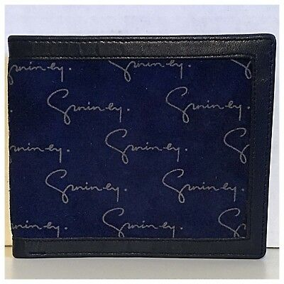 Vintage GIVENCHY signature blue suede and leather wallet billfold deadstock