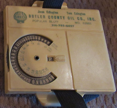 VINTAGE Shell  MILE-A-METER ADVERTISING GAS mileage POPLAR BLUFF MO BUTLER CO
