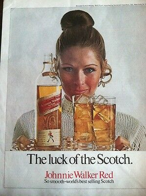 VINTAGE MAGAZINE Print AD Johnnie Walker Luck of the Scotch          AL52