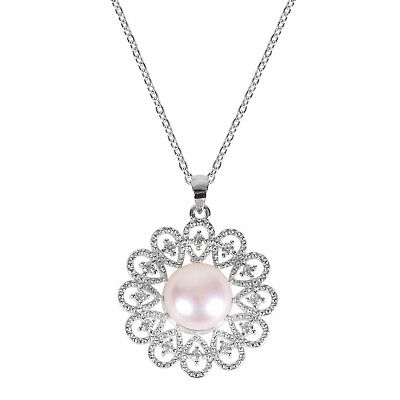 """Rhodium Plated Necklace with Flower Shape Pearl and Cubic Zirconia Pendant,18"""""""