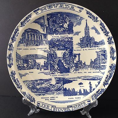 "Vintage Vernon Kiln Nevada State Plate Decorative Collectible 10"" Blue & White"