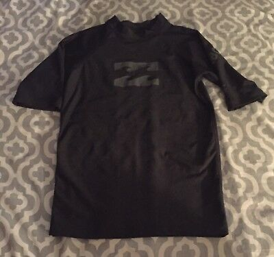 EUC Billabong Boy's Unity Black Short Sleeve Fitted Rash Guard Shirt ~ Size 12