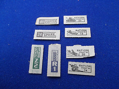 Set of 8 World War Two 2 WWII Ration STAMPS U.S. 1943 vintage coffee green blue