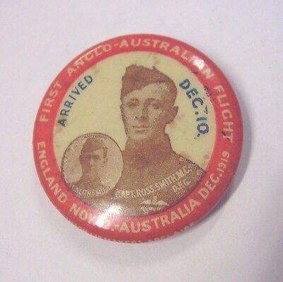 1919 First Anglo Australian Flight Button Badge Ross & Keith Smith Aviation