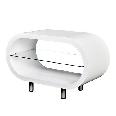 S# High Gloss White Coffee Table Oval MDF Glass Shelf Display Storage TV Stand
