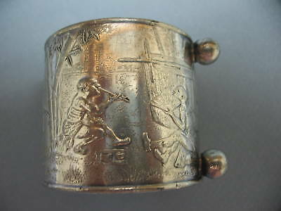 Vintage 1930's Silverplate Napkin Ring w/ Feet ~ Asian Relief, Chinese Men