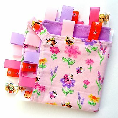 LARGE Size Bees & Flowers Taggie Security Blanket Toy Comforter dummy clip holde