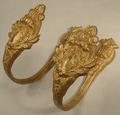 Antique Pair Gilt Bronze French Chateau Curtain Tie Backs Leaves Floral