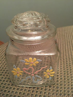 "Antique Vintage Glass Apothecary Jar Canister 4.5"" with flowers"