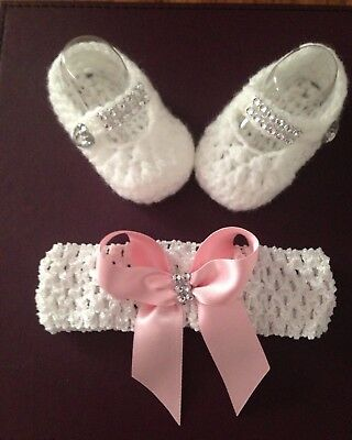 crochet/knit baby girls Romany Bling  headband   and shoes 0-3 Months