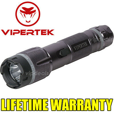 VIPERTEK VTS-T03 Metal Police 73 BV Stun Gun Rechargeable LED Flashlight - Gray