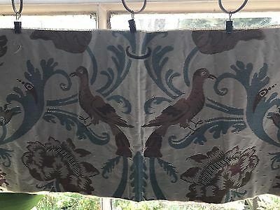 "French Woven Jacquard Birds decorators Interior fabric panel Cafe Curtain 11""50"""