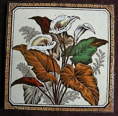 "Antique Victorian ""ARUM LILY"" Tile RD1887"