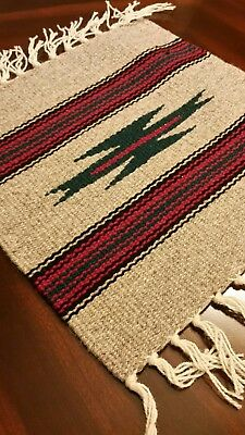 Chimayo 100% Wool Textile 10 X 10 Green Center Color  Weaving Made in New Mexico