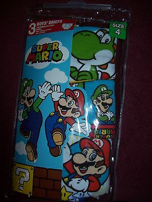 Boys SUPER MARIO Underwear / Briefs - Little Boys Size 4 - THREE Pairs  NEW  NWT