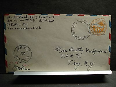 APO 960 HILO, HAWAII WWII Censored Army Cover 105th INFANTRY Soldier's Mail