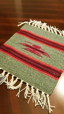 Chimayo 100% Wool Textile 10 X 10 Wine Thunderbird Center  Weaving Made in N.M