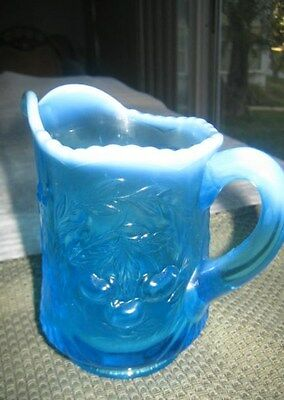 Vtg LG Wright Blue Glass Opalescent Scalloped Rim Creamer Cherries Design 4 3/4""